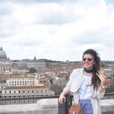 When in Rome: Culotte with a bow, Carmen Top & Trench Coat