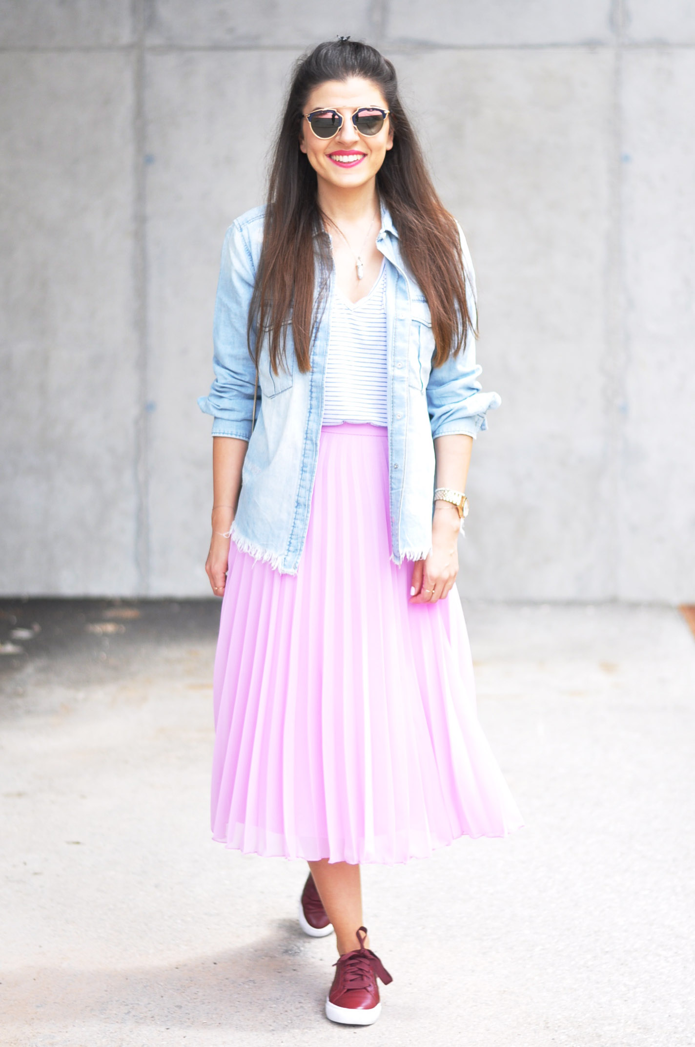 Pink Pleated Skirt Amp Tory Burch Sneaker Fashionnes