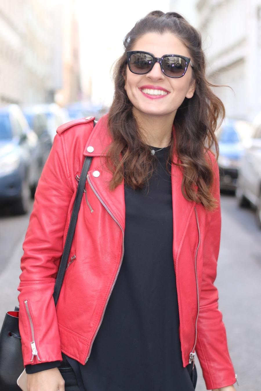 Red Leather Jacket Glitter Boots Amp Mansur Gavriel Bucket