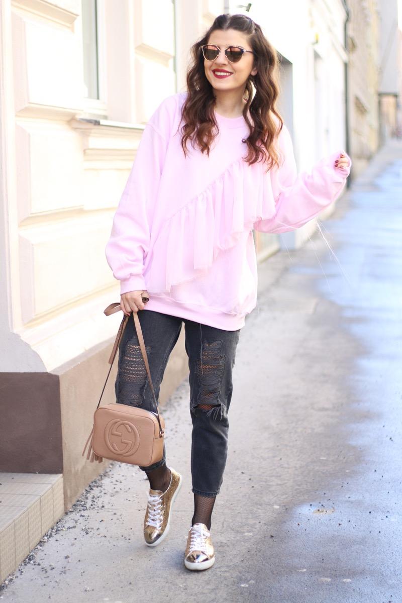 pink ruffled sweatshirt fishnet tights miu miu glitter. Black Bedroom Furniture Sets. Home Design Ideas
