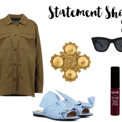 Inspiration: Logo Shirt, Satin Mules & Chanel Brooche