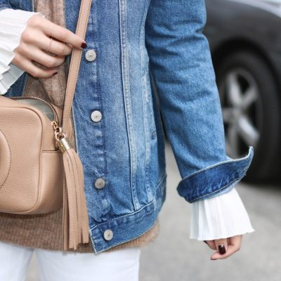 White Ripped Boyfriend Jeans & Camel Sweater