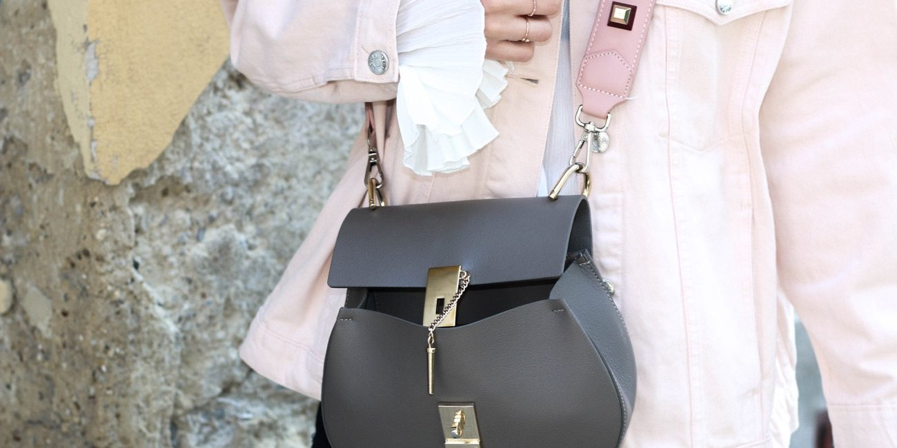 Blush Pink Denim Jacket & Silver Oxford Shoes