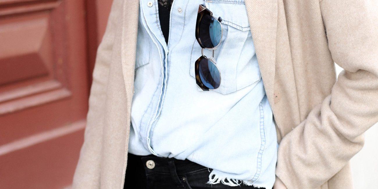 Denim Shirt, Cropped Skinny Jeans & Camel Coat