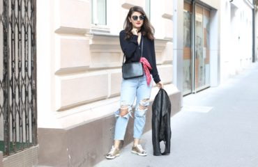 Miu Miu Glitter Sneaker, Ripped Jeans & Fendi Sunglasses