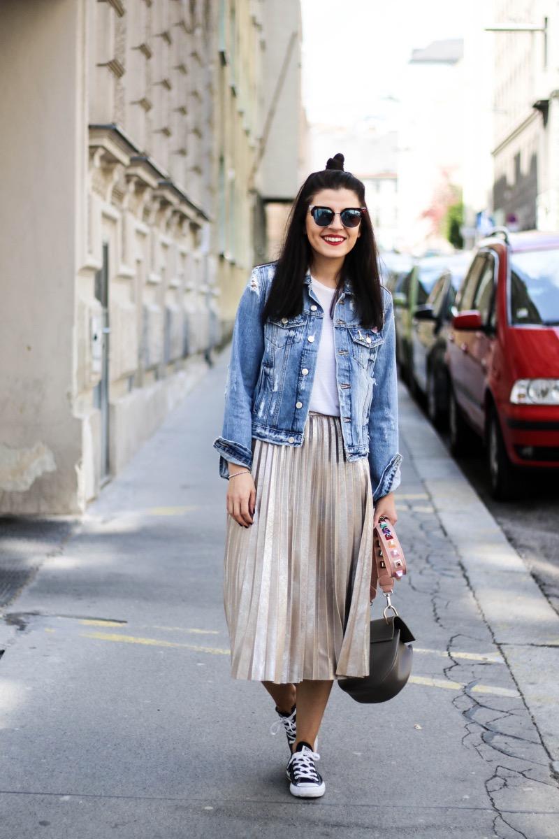 Metallic Pleated Skirt and Denim Jacket - Fashionnes