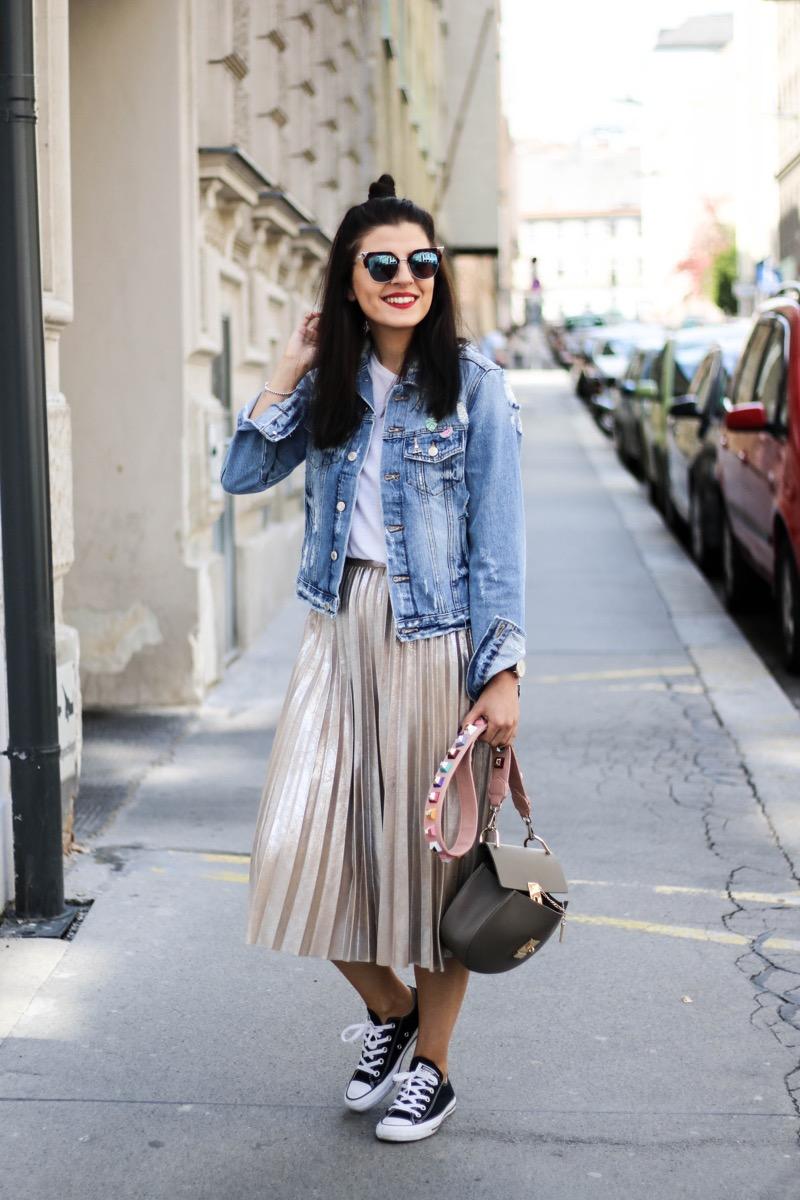 81fb11ca39 Metallic Pleated Skirt and Denim Jacket - Fashionnes