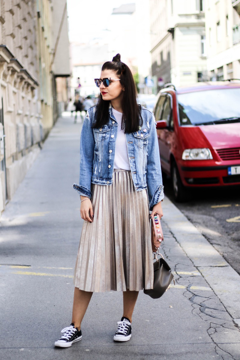 metallic pleated skirt and denim jacket fashionnes