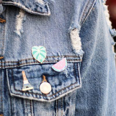 Metallic Pleated Skirt & Denim Jacket