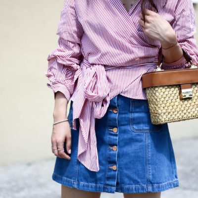 Striped Wrap Around Shirt, Straw Bag & Chanel Espadrilles