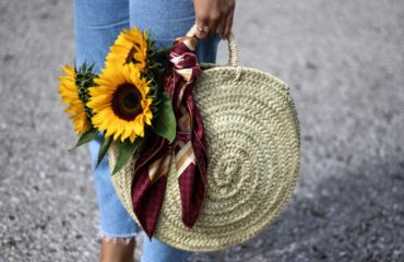 Round Straw Bag, Pom Pom Slides & Mom Jeans