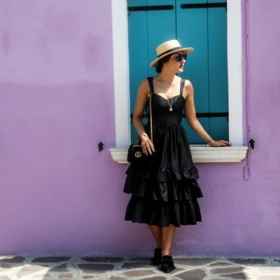 Burano – Colorful Island: Black Frilled Midi Dress