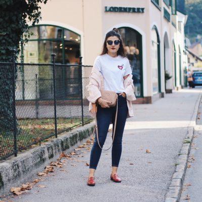 Pink Oversized Denim Jacket & Fendi Iridia Sunglasses