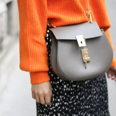 Orange Knit & Star Skirt