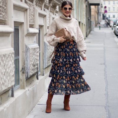 Suede Sock Boots & Floral Midi Skirt