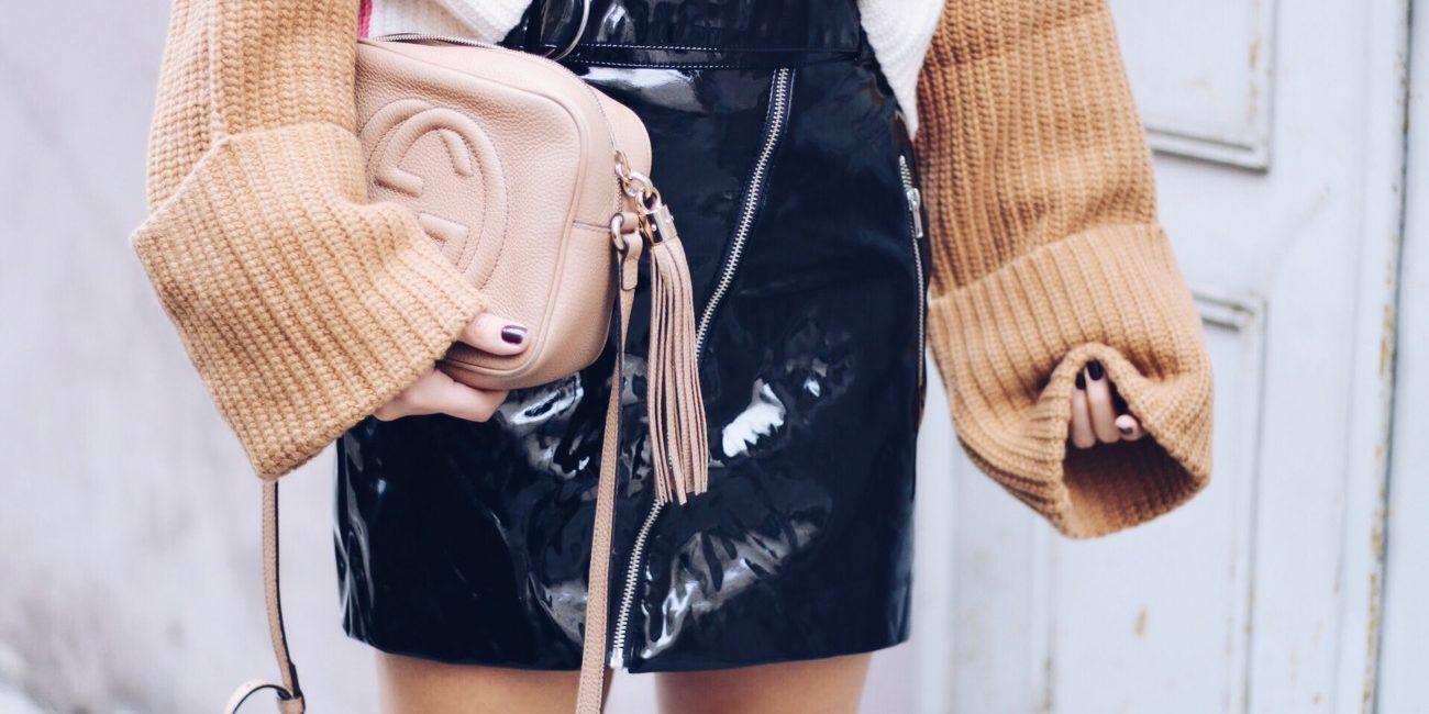 Vinyl Mini Skirt, Gucci Disco Soho Bag & Black Converse