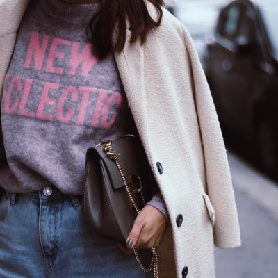 Slogan Sweater & Ripped Mom Jeans