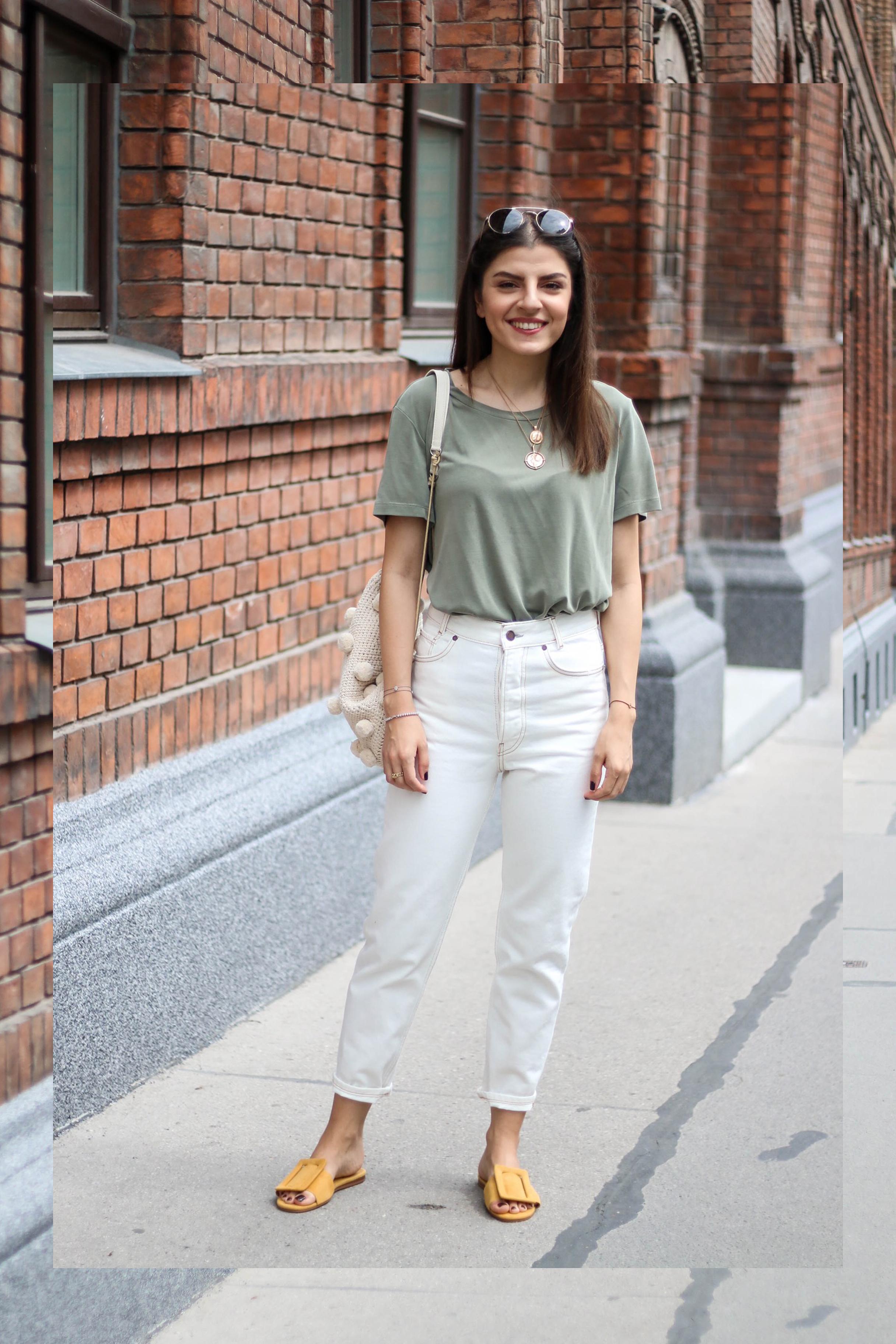 White Mom Jeans Amp Pom Pom Backpack Fashionnes